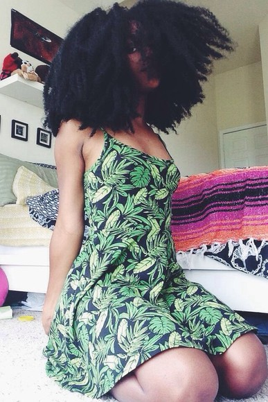 dress green dress green leaf leaves leaves printed leaves print tropical tropical dress spring summer outfits summer dress spaghetti strap indie streetwear streetwear natural hair natural