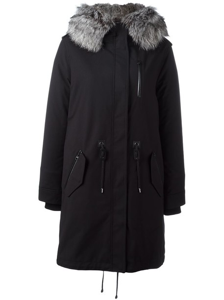 mackage coat fur fox women black