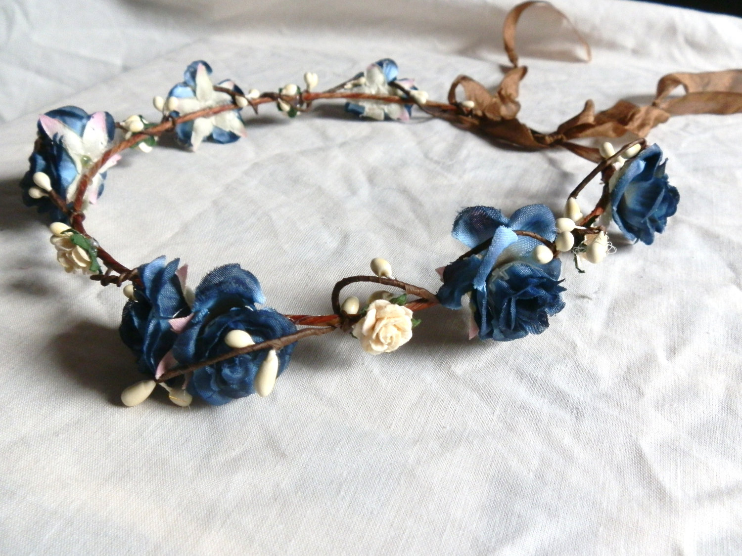 flower floral crown hair wreath ( blue and white rose) Wedding headpiece, headband, vintage inspired rose crown, french ribbon pip berries
