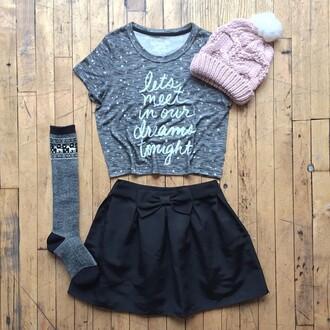 hat t-shirt skirt beanie booties socks shirt pom pom beanie shorts