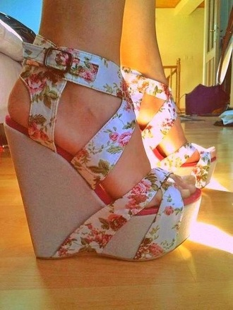shoes floral wedges