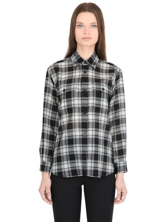 shirt plaid shirt plaid wool white black top