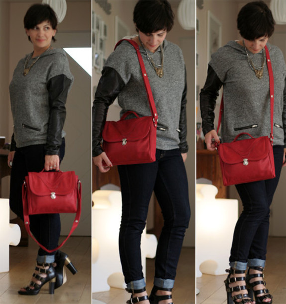 red leather satchel m2c for andré red bag