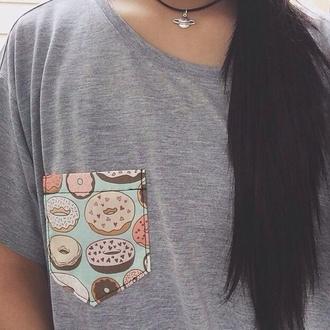 donut hipster t-shirt grey hipster punk punk cute shirt pocket t-shirt