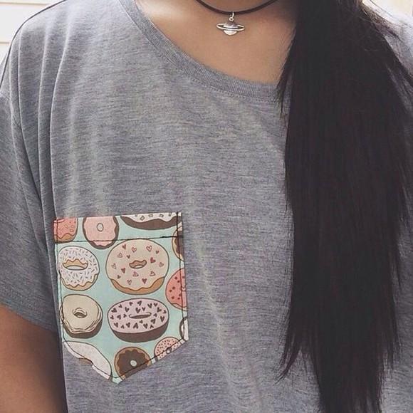 donut grey t-shirt hipster hipster punk punk cute shirt pocket t shirt