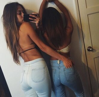 jeans blue jeans denim urban swag brunette hot girl bum booty butt tight cool street streetstyle