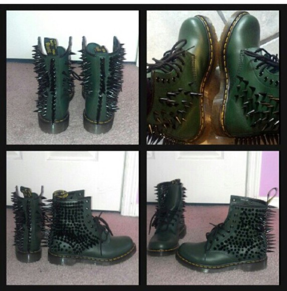 shoes studded shoes fashion boots spikes DrMartens style grunge dope