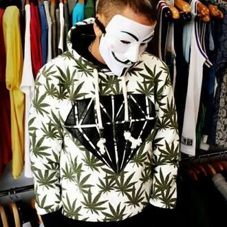 top hoodie diamonds weed white jacket mens sweater menswear