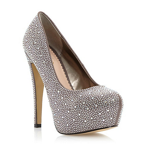 Head Over Heels by Dune Pewter 'cherub' diamante embellished platform court shoe- at Debenhams.com