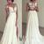ivory chiffon lace round neck long prom dress, evening dress - 24prom
