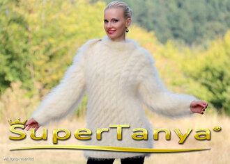 sweater hand knit made mohair cable supertanya angora cashmere alpaca wool soft fluffy