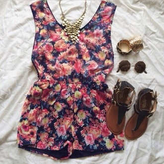 shorts romper rompers floral flowers print pink blue orange cute yellow sunglasses
