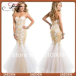liefje witte je0348 naakt gebloemd kant tule zeemeermin avondjurk jurk