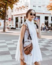 bag,white dress,mini dress,sunglasses,white