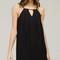 Pleated v peephole shift dress - black