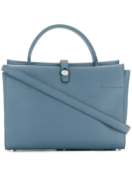 Loro Piana - top handle tote - women - Calf Leather - One Size, Blue, Calf Leather