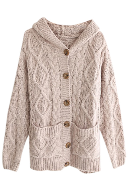 Hooded pocketed cable knit light coffee cardigan, the latest street fashion