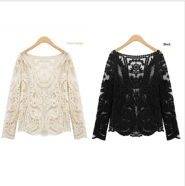 New 2014 Lace Blouses Shirt Women Long Sleeve Ladies Lace Blusas Women Tops Sheer Floral Crochet Sexy Blouse Plus Size CH 6028  -in Blouses & Shirts from Apparel & Accessories on Aliexpress.com