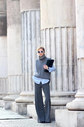 sirma markova blogger wide-leg pants turtleneck pants sweater shirt jewels dress bag sunglasses