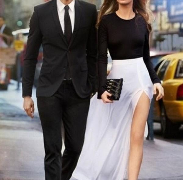 skirt maxi top cara delevingne black and white dress
