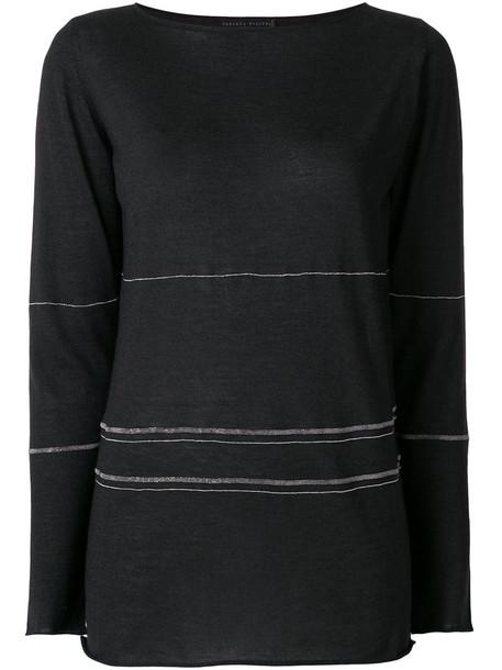 Fabiana Filippi - contrast stitch jersey top - women - Silk/Cashmere - 42, Grey, Silk/Cashmere