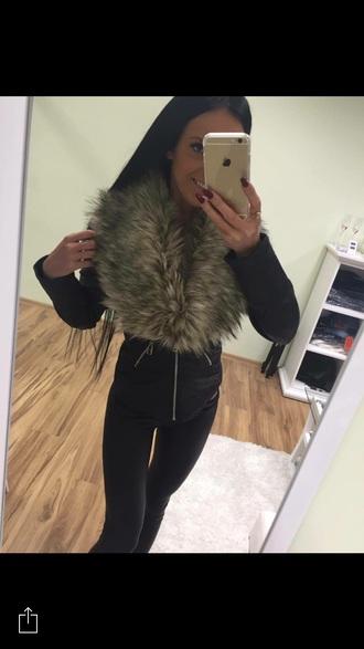 jacket leather jacket black fur