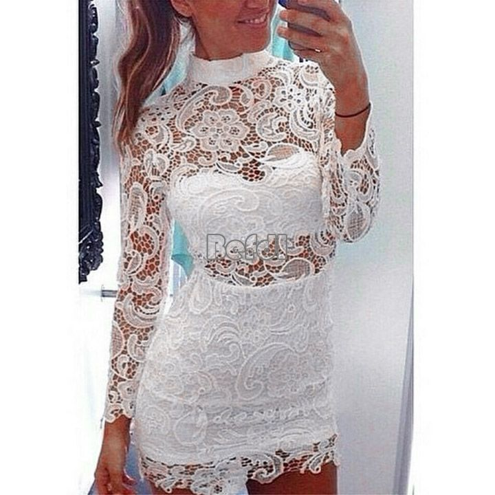 Fashion Women Bandage Bodycon Lace Floral Evening Sexy Party Cocktail Mini Dress