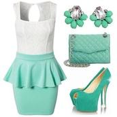 dress,green,mint,pretty,flowers,blouse,skirt,classy,fashion,polyvore,jewels,bag,shoes,leggings,light aqua