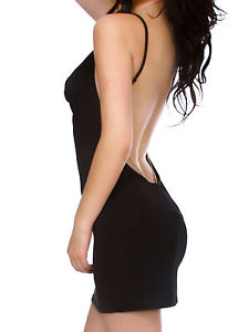 Sexy Black Minimalist Backless Open Cutout Back Slip Dress Club Wear One Size | eBay