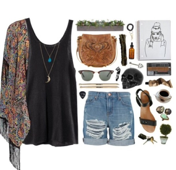 blouse cardigan sweater beautiful make-up oot ootd instagram dope indie bohogrunge boho grunge sandals tank top tunic tank top shirt