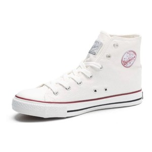 White Canvas High Top Lace up Hui Li Sneakers