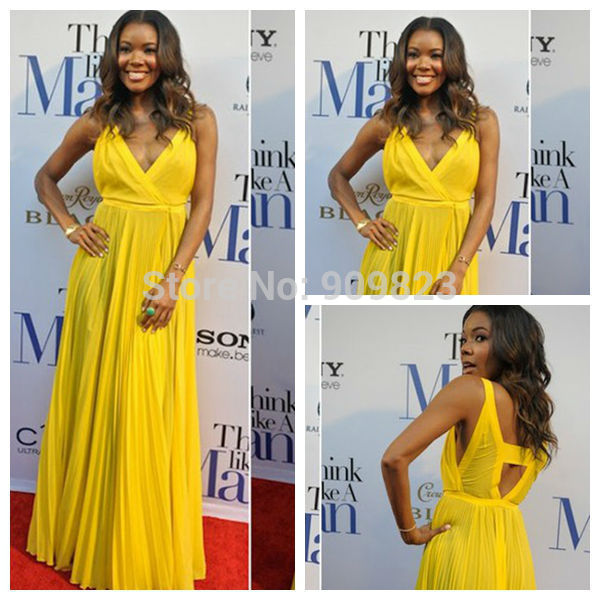 Aliexpress.com : buy vestido de celebrity yellow dress v neck cut out back draped a line celebrity dresses 2014 gabrielle union red carped dress from reliable gown ball dress suppliers on my classic garden