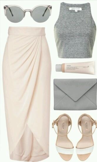 skirt shirt pink skirt pale pastel skirt