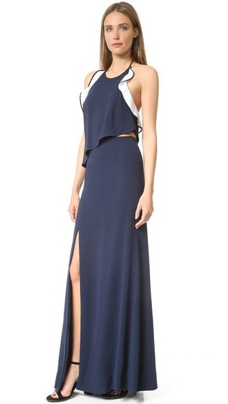 gown ruffle slit navy dress