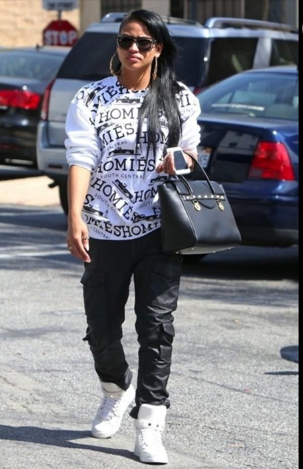 shirt cassie ventura homies pants jewels sunglasses bag shoes nail polish just so sexy gorgeous best bitch baddies