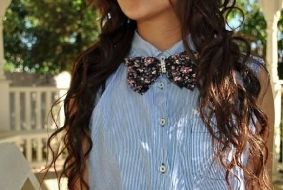 shirt floral striped shirt denim shirt bow tie