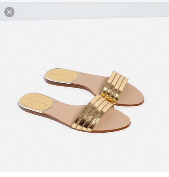 c521e21d5e39 shoes zara metallic gold strappy sandals slide sandals gold sandals cute  sandals flat sandals