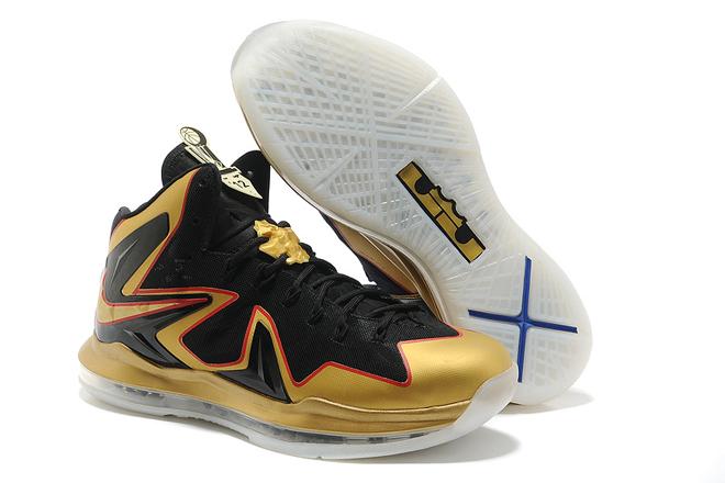 Nike Air Max LeBron X Elite EXT Celebration Pack Championship Basketball Shoes Black Gold