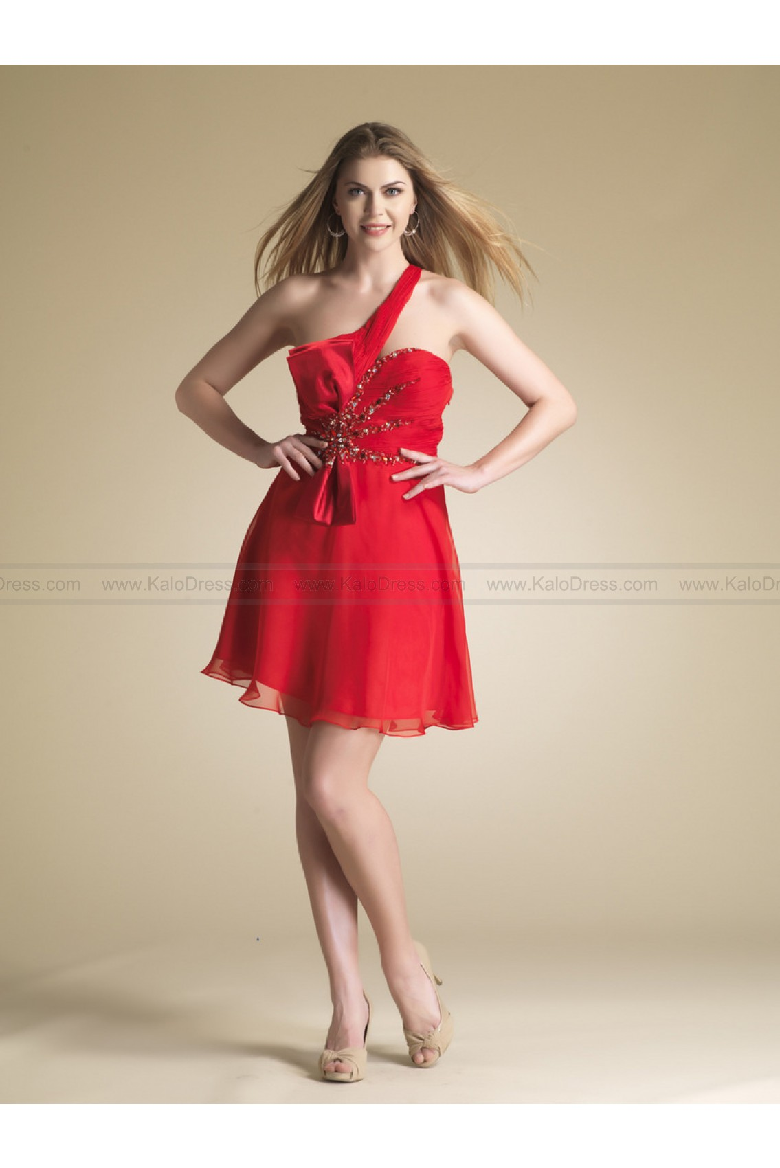 A-line One Shoulder Short/Mini Chiffon Red Beading Party Dress - Special Occasion
