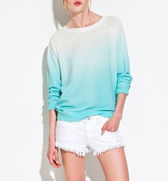 sweater cute teal aqua ombre white shorts fall outfits nice pretty soft blonde hair