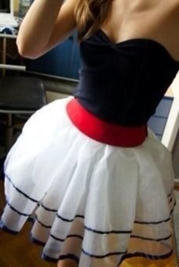 skirt white skirt dress strapless black red white formal nautical dress navy sailor