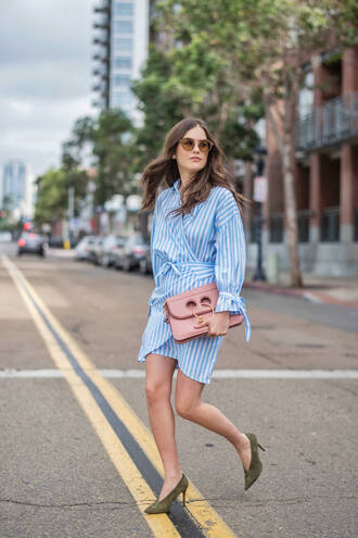 dress tumblr mini dress blue dress stripes striped dress long sleeves long sleeve dress pumps pointed toe pumps sunglasses bag pink bag shoes