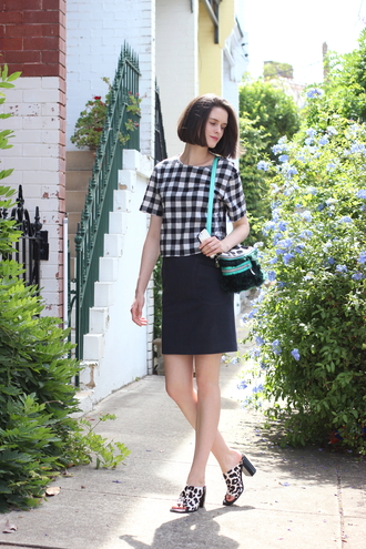 by chill blogger shoes gingham leopard print t-shirt top skirt bag