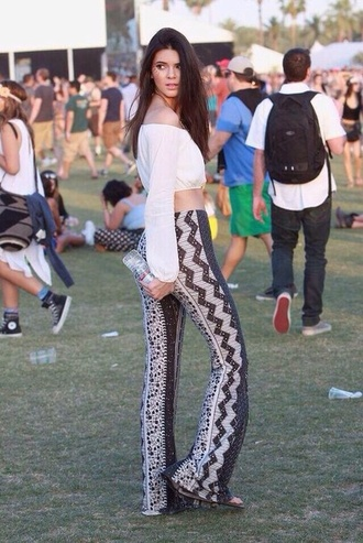 pants coachella kendall and kylie jenner boho chic red lime sunday