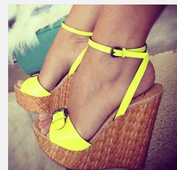 shoes neon wedges platform shoes