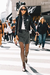 lefashion,blogger,jacket,skirt,tights,shoes,black jacket,grey skirt,mini skirt,fishnet tights,ankle boots,tumblr,wrap skirt,t-shirt,white t-shirt,black leather jacket,leather jacket,sunglasses,streetstyle,net tights,boots,brown boots
