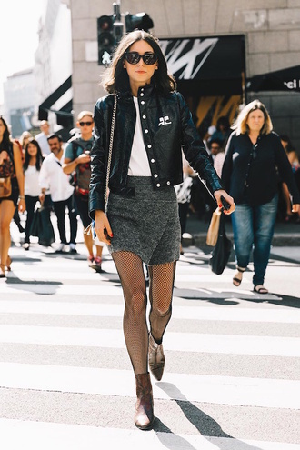 lefashion blogger jacket skirt tights shoes black jacket grey skirt mini skirt fishnet tights ankle boots tumblr wrap skirt t-shirt white t-shirt black leather jacket leather jacket sunglasses streetstyle net tights boots brown boots
