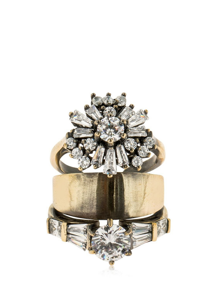 IOSSELLIANI Stacked Ring W/ Crystals in gold