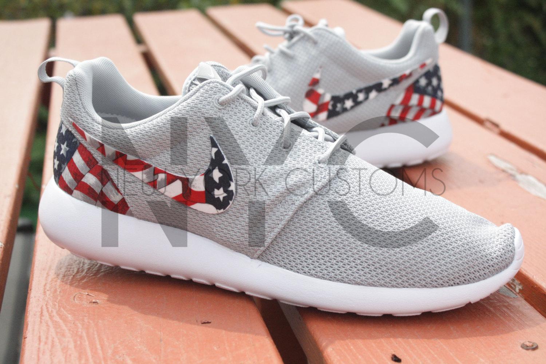 various colors fa504 8fa54 Nike Roshe Run Wolf GreyWhite American Flag Pride Print Men