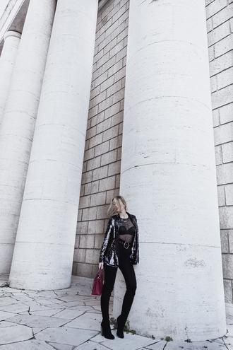 glamgerous blogger jacket shirt bag shoes jeans leggings boots thigh high boots handbag blazer see through top